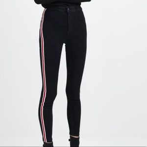 High rise super elastic jeggings with stripe jeans